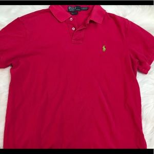 Men's hot pink polo top
